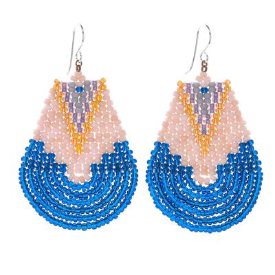 Glass beaded dangle earrings, 'Thai Moon in Blue' - Handcrafted Glass Bead Dangle Earrings
