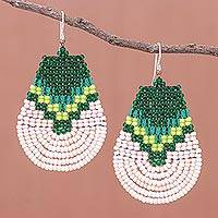 Glass beaded dangle earrings, 'Thai Moon in Green' - Green and Cream Glass Beaded Dangle Earrings