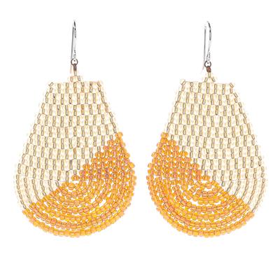 Glass beaded dangle earrings, 'Thai Moon in Gold' - Metallic Gold and Cream Glass Beaded Dangle Earrings