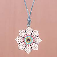 Beaded pendant necklace, 'Eight Petals in White' - Hand Strung Glass Beaded Pendant Necklace