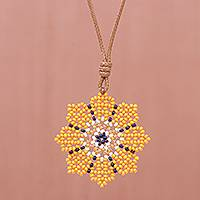 Beaded pendant necklace, 'Eight Petals in Yellow' - Hand Strung Glass Beaded Pendant Necklace