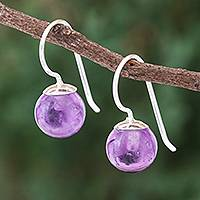 Rose quartz drop earrings, 'Luna in Violet' - Amethyst Sterling Silver Drop Earrings