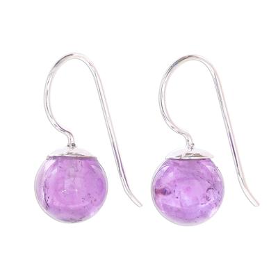 Rose quartz drop earrings, 'Luna in Violet' - Amethyst Sterling Silver Drop Earrings