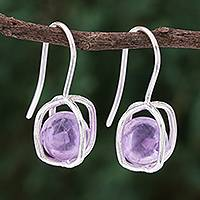 Amethyst drop earrings, 'Violet Galaxy' - Sterling Silver Caged Amethyst Bead Drop Earrings