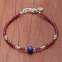Lapis lazuli and quartz beaded bracelet, 'Magenta Moon' - Hand Threaded Sterling Silver Lapis Lazuli Beaded Bracelet