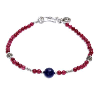 Lapis lazuli and quartz beaded bracelet, 'Magenta Moon' - Hand Threaded Sterling Silver Lapis Lazuli Beaded Bracelet