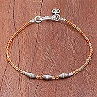 Carnelian beaded bracelet, 'Marigold Mood' - Faceted Carnelian and Karen Silver Beaded Bracelet