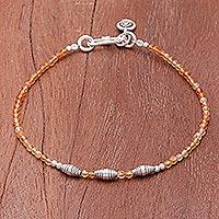 Carnelian beaded bracelet, 'Marigold Mood' - Faceted Carnelian and Karen Silver Beaded Bracelet