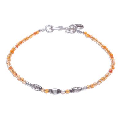 Faceted Carnelian and Karen Silver Beaded Bracelet