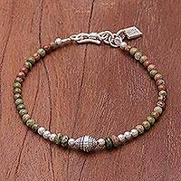 Unakite beaded bracelet, 'Earthy Silver' - Unakite and Karen Silver Beaded Bracelet