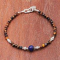 Tiger's eye and lapis lazuli beaded bracelet, 'Perception' - Karen Silver Tiger's Eye and Lapis Lazuli Beaded Bracelet