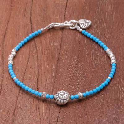 Howlite beaded bracelet, 'Beneath the Sea' - Blue Howlite and Karen Silver Beaded Bracelet