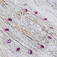 Sillimanite and labradorite charm bracelet, 'Yearning' - Artisan Crafted Cerise Sillimanite Bracelet