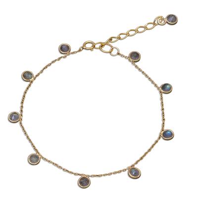 Gold plated labradorite charm bracelet, 'Yearning' - Labradorite and 18k Gold Plated Charm Bracelet
