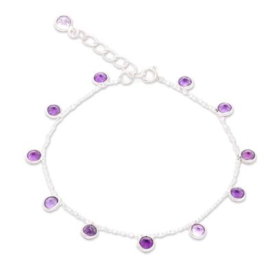 Amethyst charm bracelet, 'Yearning' - Sterling Silver Charm Bracelet with Amethyst