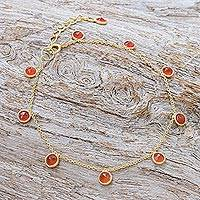 Gold plated carnelian charm bracelet, 'Yearning' - 18k Gold Plated Bracelet with Carnelian