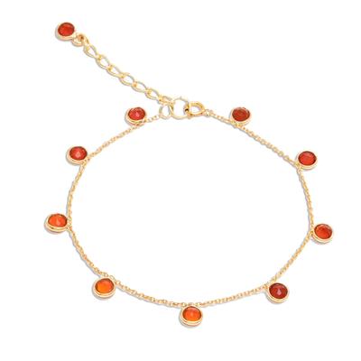 Gold plated carnelian charm bracelet, 'Yearning' - 18k Gold Plated Bracelet with Carnelian