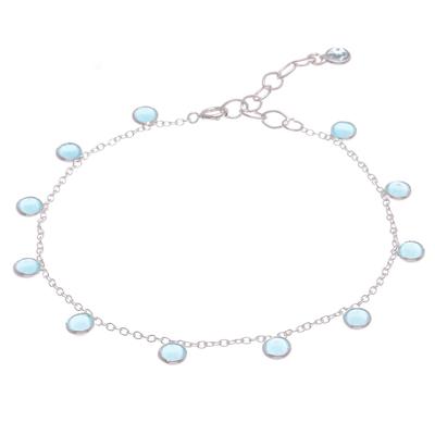 Chalcedony and blue topaz charm bracelet, 'Yearning in Blue' - Hand Crafted Chalcedony and Blue Topaz Charm Bracelet