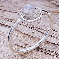 Labradorite solitaire ring, 'Special One' - Labradorite and Sterling Silver Solitaire Ring