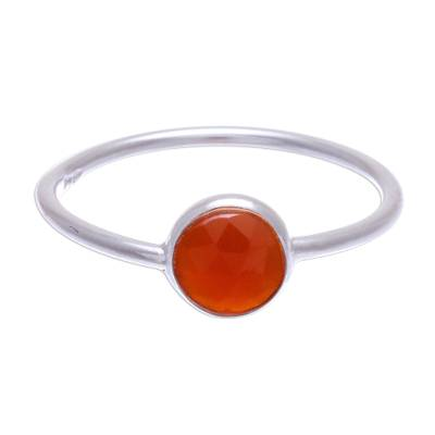 Carnelian solitaire ring, 'Precious One' - Simple Sterling Silver and Carnelian Ring