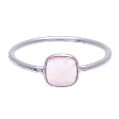 Chalcedony solitaire ring, 'Special One' - Hand Crafted Pink Chalcedony Solitaire Ring