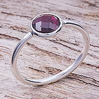 Garnet solitaire ring, 'Precious One' - Artisan Crafted Garnet Solitaire Ring