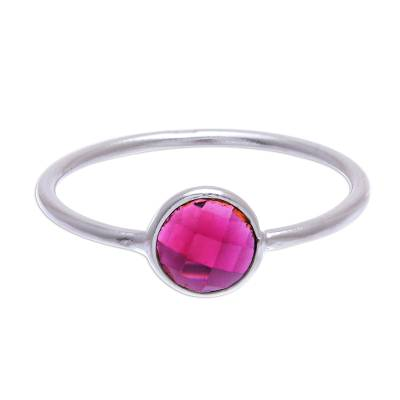 Garnet solitaire ring, 'Precious One' - Artisan Crafted Garnet Solitaire Ring