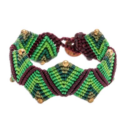 Macrame wristband bracelet, 'Forest Fun in Green' - Green Macrame Waxed Cord Wristband Bracelet