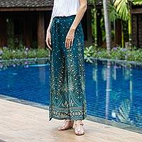 Rayon wrap pants, 'Summer Chill in Teal' - Artisan Made Rayon Wrap Paisley Floral Wrap Pants