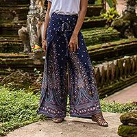 Rayon wrap pants, 'Summer Chill in Navy' - Artisan Made Rayon Wrap Paisley Floral Wrap Pants