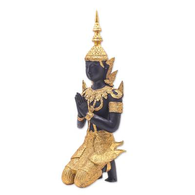 17 In Brass Sculpture of a Praying Male Buddhist Angel