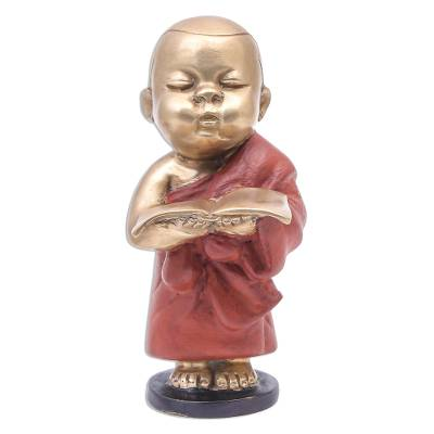 Hand Crafted Brass Monk Sculpture