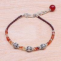 Carnelian beaded cord bracelet, 'Sunny Days Ahead' - Carnelian Beaded Cord Bracelet with Karen Silver Beads