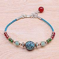 Multi-gemstone beaded cord bracelet, 'Circus Mood' - Multi-Gemstone and Karen Silver Cord Bracelet