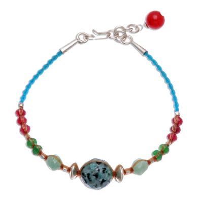 Multi-gemstone beaded cord bracelet, 'Circus Mood' - Multi-Gemstone and Karen Silver Cord Bracelet