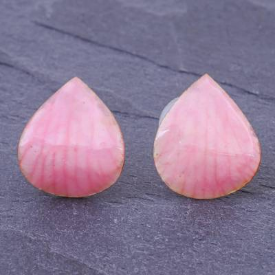 Orchid petal button earrings, 'Orchid Kiss in Pink' - Hand Made Orchid Petal Button Earrings