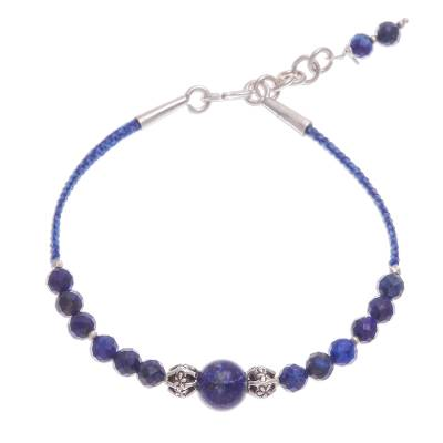 Lapis Lazuli Beaded Cord Bracelet with Karen Silver Beads