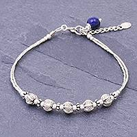Sterling silver and lapis lazuli beaded bracelet, 'Silvery Shadows' - Sterling and Karen Silver Beaded Bracelet with Lapis Lazuli