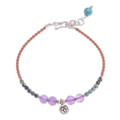 Amethyst and Reconstituted Turquoise Beaded Cord Bracelet