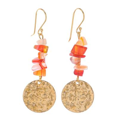 Natural Carnelian Chip and Brass Coin Dangle Earrings