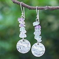 Fluorite dangle earrings, 'Shining Moon in Purple' - Hand Crafted Fluorite and Sterling Silver Dangle Earrings