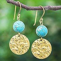 Reconstituted turquoise dangle earrings, 'Golden Coin in Turquoise' - Reconstituted Turquoise Bead and Brass Coin Dangle Earrings