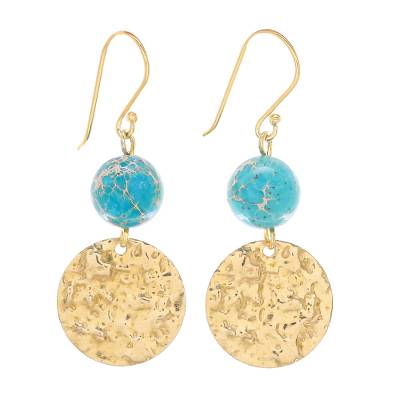 Reconstituted turquoise dangle earrings, 'Golden Coin in Turquoise' - Reconstituted Turquoise Bead and Brass Coin Dangle Earrings