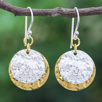 Sterling silver plated and brass dangle earrings, Gold and Silver Coin