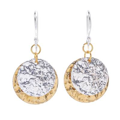 Sterling silver plated and brass dangle earrings, 'Gold and Silver Coin' - Handmade Sterling Silver Plated and Brass Dangle Earrings