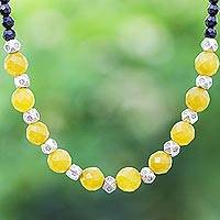 Onyx and agate beaded necklace, 'Sweet Lemonade' - Agate and Onyx Beaded Necklace with Karen Silver Beads
