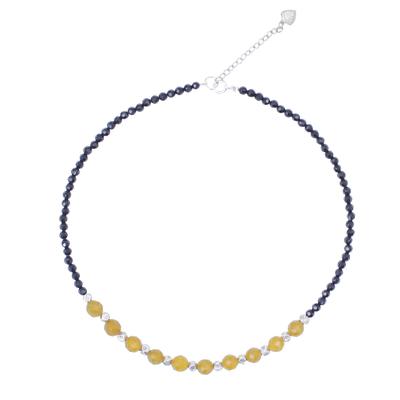 Onyx and agate beaded necklace, 'Sweet Lemonade' - Agate and Onyx Beaded Necklace with Karen Silver Beads