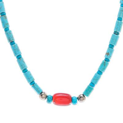 Carnelian and Reconstituted Turquoise Beaded Necklace