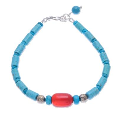 Carnelian and Reconstituted Turquoise Beaded Bracelet