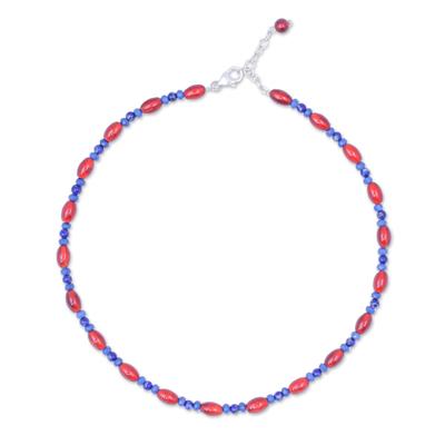 Handmade Carnelian and Lapis Lazuli Beaded Necklace